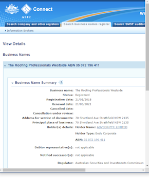 The Roofing Professionals Westside business name registration
