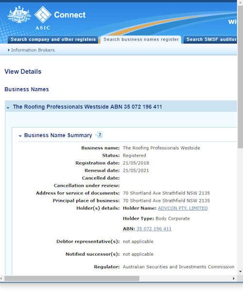 The Roofing Professionals Westside Business Registration details