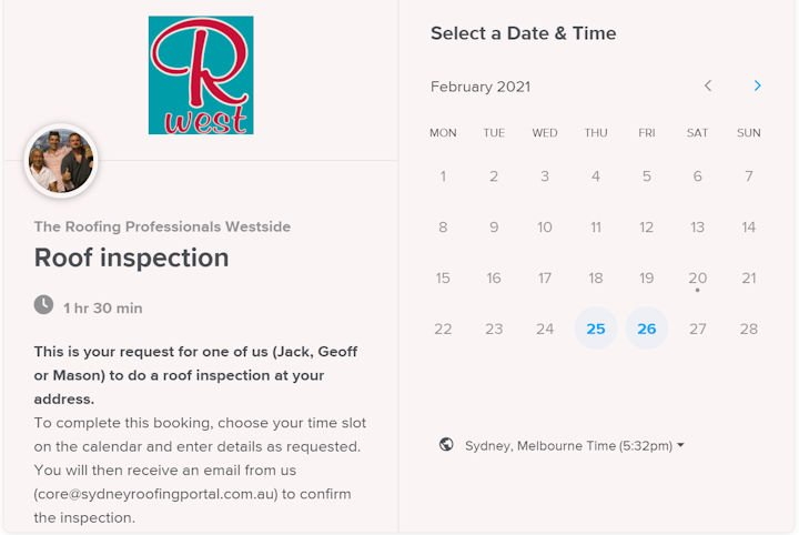 Roof repair booking calendar for the roofing professionals westside