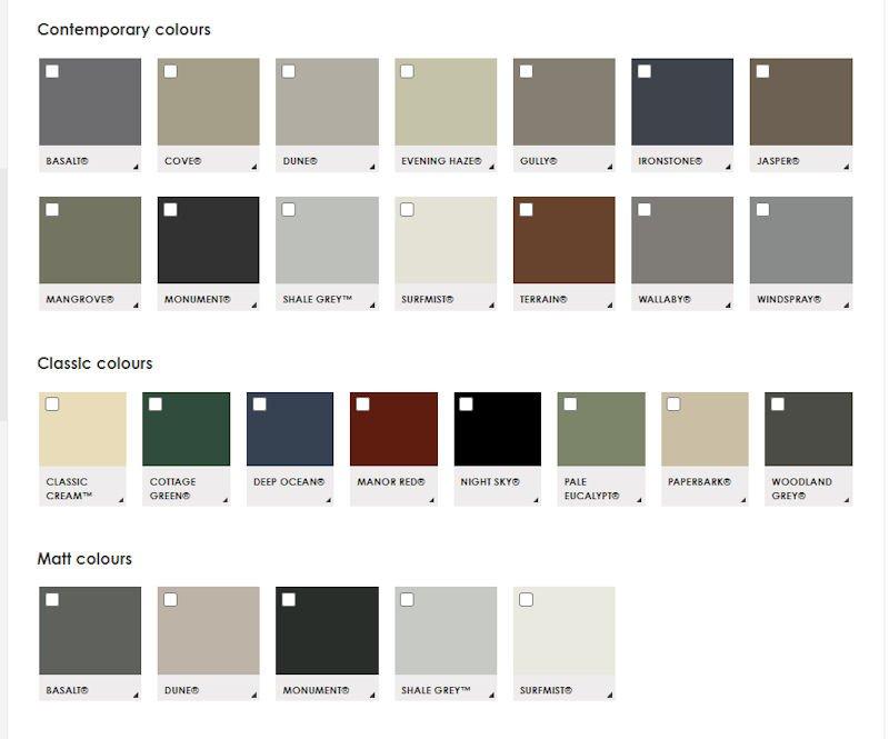 colorbond colour chart 2021