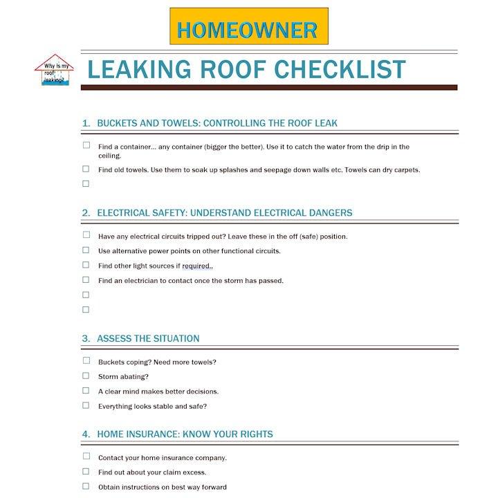 leaking roof repair checklist for homeowners