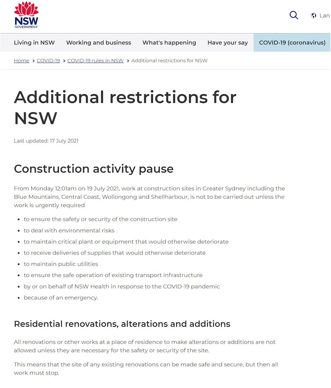 NSW government pauses construction work until August 2021