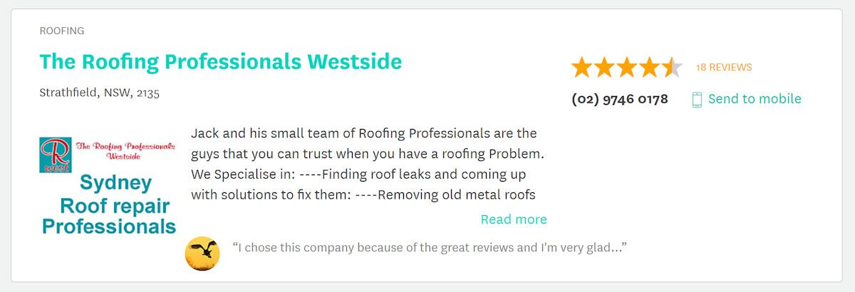 true local reviews on The Roofing Professionals Westside