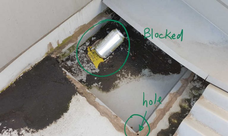 box gutter repairs - blocked by can of coke