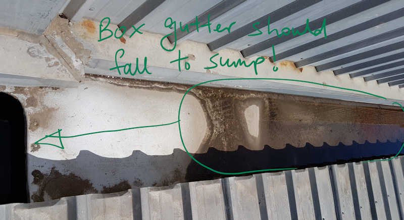 box gutter with ponding water