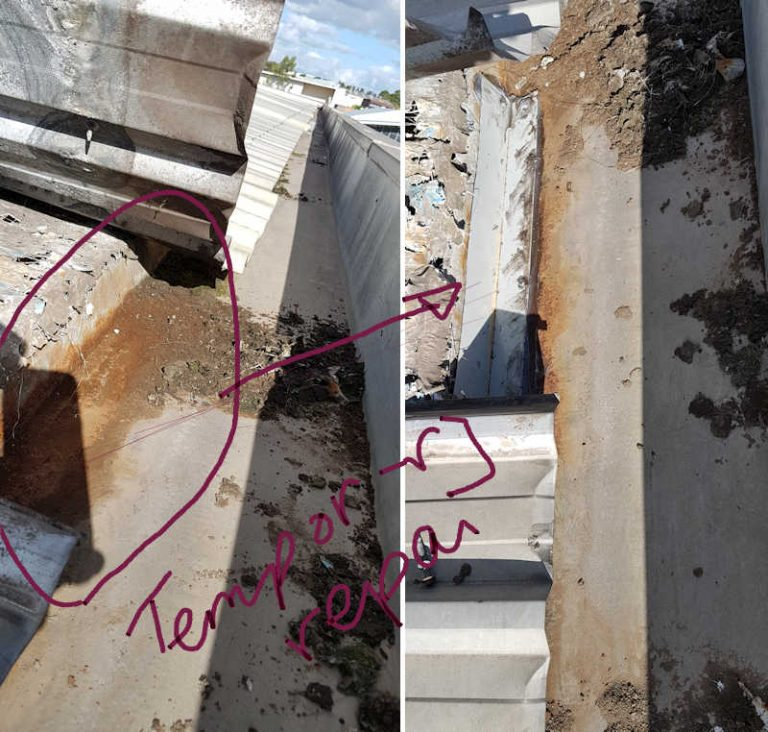 Box gutter repairs - temporary patch over rust