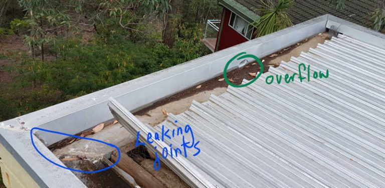 box gutter repair - overflow and leaking joint
