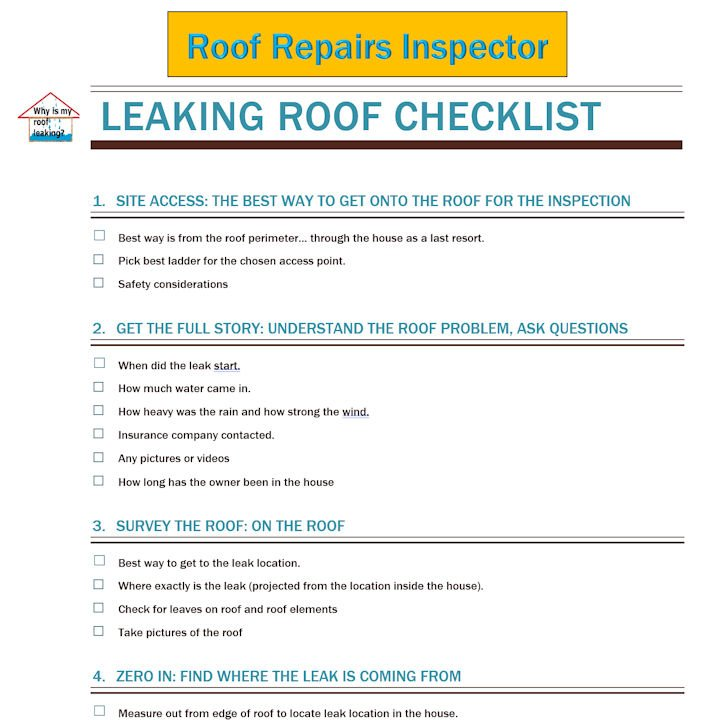 roof repairs inspection checklist