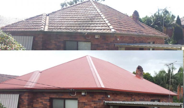 Roof replacement tile to colorbond in Sydney